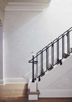 modern bannister with glass finial by Anne-Hepfer Designs | via Instant Classics in Design ~ Cityhaüs Design