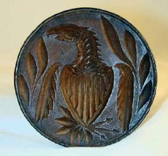 Antique Carved Wood Primitive Butter Print American Eagle and Shield Pattern
