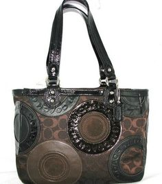 Nwt Coach 15466 East West Patchwork Signature Tote Purse Black Brown Leather