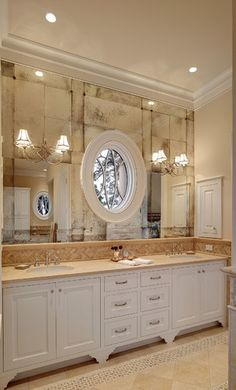 French bistro antique glass at Master Bath vanity traditional bathroom