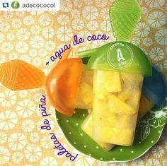 ✔El agua de coco tiene más potasio que 4 bananos juntos, es libre de grasa y colesterol, hidrata más que el agua. La piña tiene enzimas digestivas, hidrata, apoya el sistema inmunológico, está llena de vitaminas y minerales.  Piña  Agua de coco de @Adecococol Moldes de paleta   Pela la piña, pícala, métela en los moldes de paleta, echa agua de coco en donde echaste la piña y congela.  Puedes endulzar si quieres. Puedes ponerle las frutas que quieras Envíos en Cali. 3015768165/ 3176412155