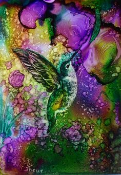 Hummingbird Original Alcohol Ink Painting by. on Etsy♥ Alcohol Ink Tiles, Alcohol Ink Crafts, Alcohol Ink Painting, Watercolor And Ink, Bird Art, Art Techniques, Creative Art, Painting & Drawing, Ink Paintings