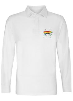 FLAGS AND TRUNKS MENS WHITE LONG SLEEVE RUGBY SHIRT