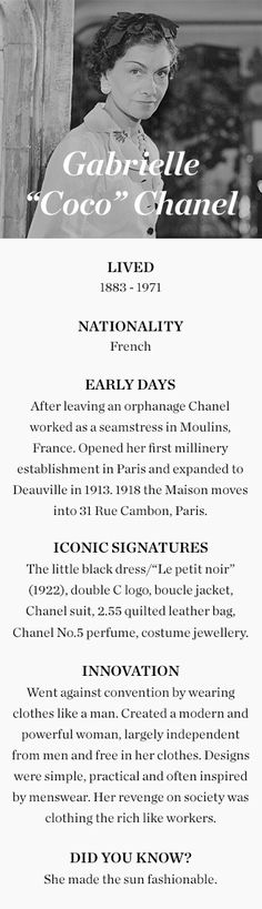 """Gabrielle """"Coco"""" Chanel (1883-1971)"""