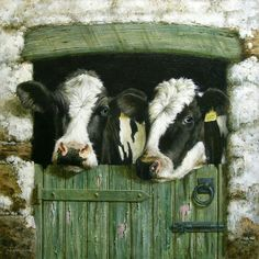 Holstein Cows Painting - Early Doors by David Lyons Farm Animals, Animals And Pets, Cute Animals, Beautiful Creatures, Animals Beautiful, Beautiful Images, Cow Painting, Cute Cows, Cow Art
