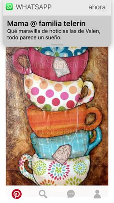 Tea Cups Stack Teacup Original Textured Painting Mixed Media Oil Acrylic Pastel Pigments Painting inches Inspirational - Té tazas pila taza textura pintura mixta acrílico por SpeiserStudio The Effective Pictures We Off - Tee Kunst, Cup Art, Decoupage Paper, Coffee Art, Kitchen Art, Texture Painting, Whimsical Art, Medium Art, Painting Inspiration