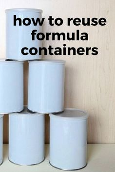 Organize for cheap by repurposing old formula cans. Easy cheap formula containers makeover idea. Cheap storage idea for pantry or garage with repurposed formula container. #waystoreuseformulacontainer #formulacansmakeoverdiy Cheap Storage, Diy Storage, Storage Ideas, Diy Furniture Projects, Diy Craft Projects, Reuse Formula Containers, Kids Decor, Diy Home Decor, Concrete Stool