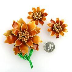 Vintage Flower Set Brooch Clip Earrings Enamel over Metal
