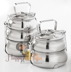 Happy Tiffin, Medium Stainless Pyramid Tiffin Set, Food Carriers