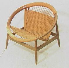 116: Wood Circle Chair with Woven Rush Seat. Danish Mo : Lot 116