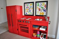 my grandfather built me a kitchen set similar to this...it is still in my mom's basement...who knew that Grandpa was a trendsetter 35 years ago!!!  {my sink is a 13x9 metal pan}  :)