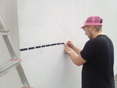 The artist Nick Prokesch alias nic. has studied video/video installation at the Academy of Fine Arts Vienna. With his tape graffiti Nick produces architecture in 2D perspective. Taped comics or abstract oeuvres are structuring walls, floors and stairs. Nick's work is taped with rubber tape instead of being sprayed or painted. #kufoklebt #art #vienna #graffiti #comic #kunstforum Video Installation, Vienna, 2d, Floors, Perspective, Graffiti, Tape, Stairs, Walls