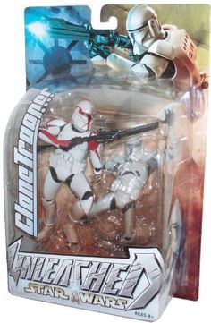 Star Wars Year 2003 Unleashed 7 Inch Tall Action Figure - Variant Red Striped Clone Trooper with Blaster Rifle and Diorama Display Base by Hasbro, http://www.amazon.com/dp/B002W0K80S/ref=cm_sw_r_pi_dp_3m-wqb1N1RED6
