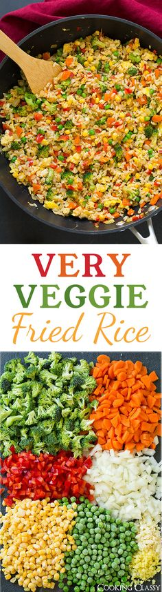 Very Veggie Fried Rice - made healthier with brown rice, eggs, broccoli, red bell pepper, carrots, peas and corn. Can also add chicken to it.