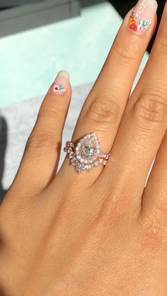 Pear Moissanite Halo Ring + Diamond Wedding Band La More Design