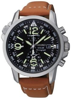 Seiko Gents Solar Powered Chronograph Watch SSC081P1:Amazon:Watches