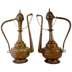 Vintage Pair of 1950s Extraordinarily Large Brass and Copper Moroccan Ewers | 1stdibs.com