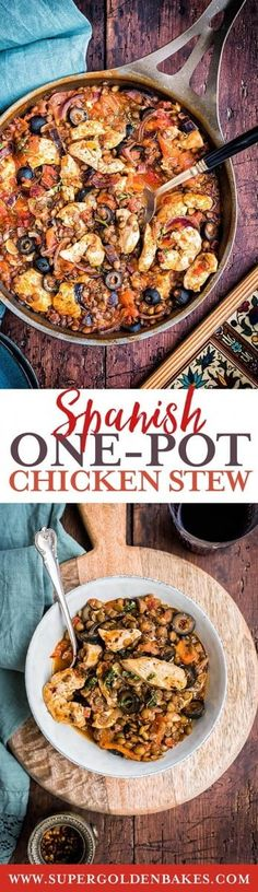 One-pot Spanish chicken, chorizo and lentil stew | Supergolden Bakes New Chicken Recipes, One Pot Chicken, Soup Recipes, Cooking Recipes, Turkey Recipes, Crockpot Recipes, Easy One Pot Meals, Quick Meals, Basque