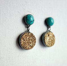 turquoise and gold drusy dangles