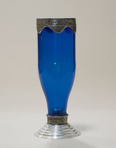 Moroccan Glass Candle Holder - Blue