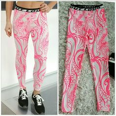 """?? Sporty Spice Statment leggings! Super fun & playful statement leggings. Grab these with your favorite sports bra and get your workout on or get comfortable in these with your comfy oversized sweatershirt!!   Black and white """"OUT LOUD"""" waist band.  Color is a bright neon pink, the photo make the pink look reddish.  Size Medium 95%polyester 5%spandex ***Matching sports top it available in Large*** Pants Leggings"""