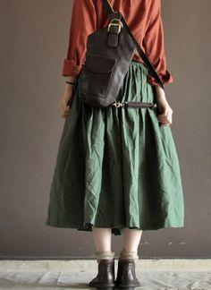 Linen Skirt Green Women Dress Women SkirtR by deboy2000 on Etsy