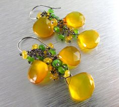 Yellow and Green Gemstone Cluster Dangle Earrings by SurfAndSand