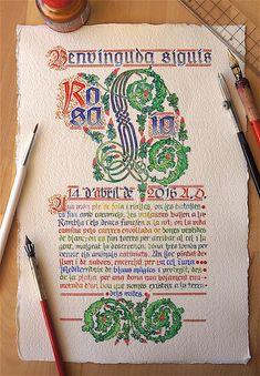 In uenerationem Titivillus: Benvinguda Lia Penmanship, Caligraphy, Illuminated Letters, Illuminated Manuscript, Letter Art, Letter Writing, Gothic Script, Creative Labs, Ink Wash