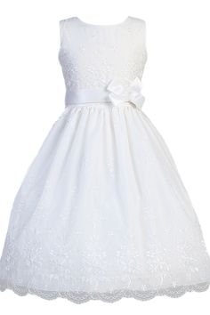 Floral Embroidery & Scallops on White Organza First Holy Communion Dress ( Girls Size 6 to 12 - 8X to 12X )