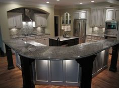 wow what a change for this kitchen, home decor, home improvement, kitchen backsplash, kitchen design, kitchen island, We loved the color so much we though we would infuse some columns and arches to add interest and allowed us to enlarge the bar top