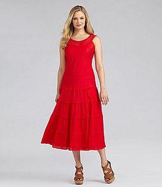 Jessica Howard Crochet Mid-Calf Dress | Dillards.com
