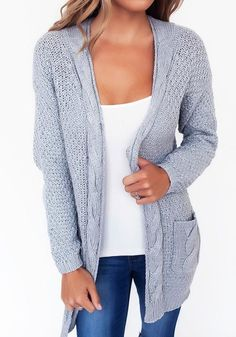 Grey Patchwork Pockets Long Sleeve Casual Cardigan Sweater 05297984b