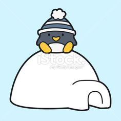 cartoon penguin sitting on an igloo Royalty Free Stock Vector Art Illustration