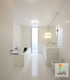 ديكورات حمامات مودرن باللون الأبيض