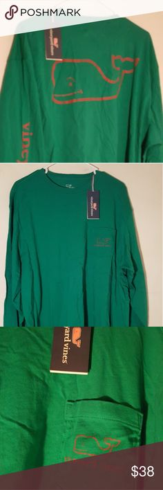 Vineyard Vines NWT Mens 2XL Vintage Whale Shirt Great classic popular vintage whale long sleeve t with signature on sleeve. Logo vintage whale pocket and large vintage whale on back. Great green color. Vineyard Vines Shirts Tees - Long Sleeve