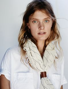 madewell bola scarf worn with the courier shirt.