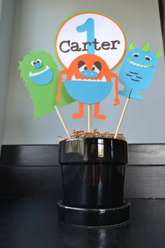 Monster Centerpiece/Cake Toppers-4 Piece Set on Etsy, $16.00