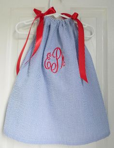 4th of July dress  Monogrammed Pillowcase Dress Blue Seersucker by DesignsByThem, $28.95