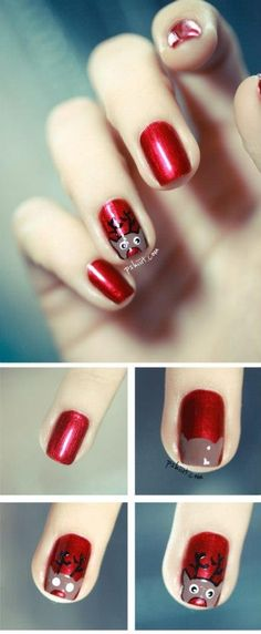 Red Reindeer Nails | - Christmas Nail Art