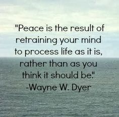 Peace is the result of retraining your mind to process life as it ...