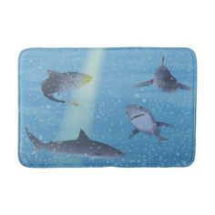 Sharks Bathroom Mat - home gifts ideas decor special unique custom individual customized individualized