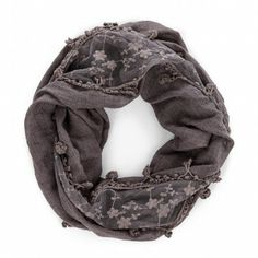 Love the lacy floral detail in this infinity scarf