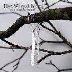 Stick Hammered Argentium Sterling Silver Earrings by TheWiredKnot, $20.00