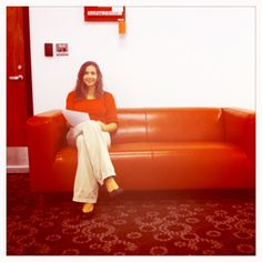 Shelley and the red couch