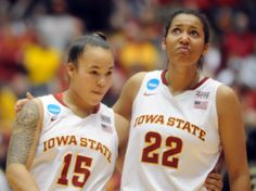Iowa State's Kidd Blaskowsky and Brynn Williamson react after losing against Florida State in the NCAA first round game on Saturday, March 22. Photo by Nirmalendu Majumdar/Ames Tribune