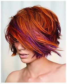 Asymmetric hairstyle with awesome color