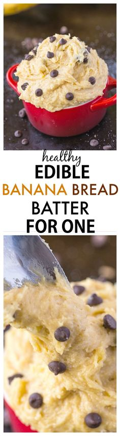 Healthy Edible Banana Bread Batter for one recipe- The taste + texture of classic banana bread batter but SO healthy, quick and easy- This recipe is single serve and packed full of protein and barely any sugar! {vegan, gluten-free, egg-free, paleo options}-