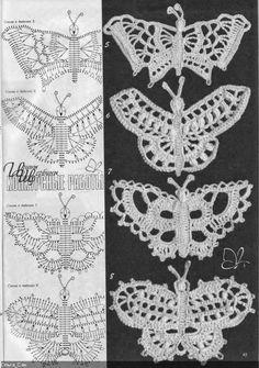 Letras e Artes da Lalá: Borboletas e libélula de crochê/irish lace (www.pinterest.com - sem receitas