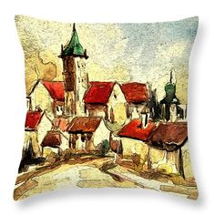 Sighisoara Throw Pillow featuring the painting Sighisoara by Cuiava Laurentiu Pillow Sale, Poplin Fabric, Fine Art America, Tapestry, Throw Pillows, Random, Prints, Pictures, Painting
