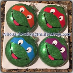 DIY Teenage Mutant Ninja Turtles Glass Glitter Christmas Ornaments